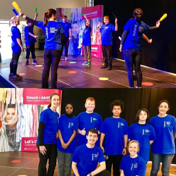 2 images of pupils in blue t-shirts performing dance and then a group picture facing the camera