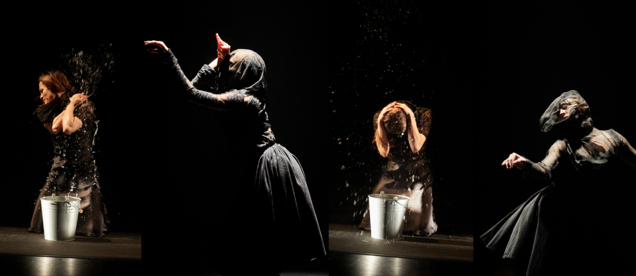selection of 4 images of individual dancers, 2 throwing water, 2 with veils over their faces
