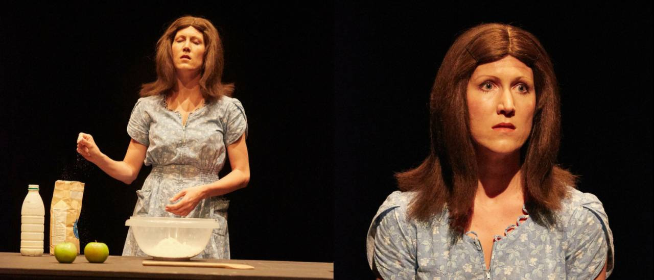 2 images of Bernadette, one with table and mixing bowl, one looking out to the audience