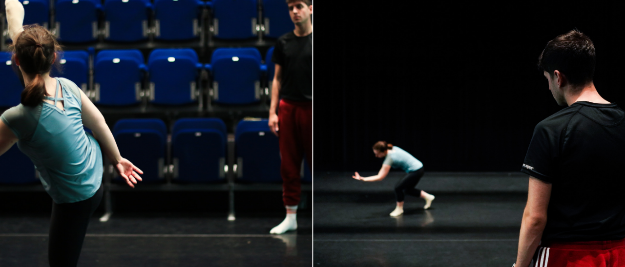 jack philp 2 images one with dancer leg in the air, one jack looking at a dancer crouched down