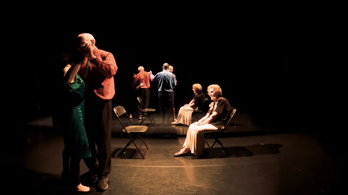 Dancers with Parkinson's dancing together - screenshot from 'Reflections'