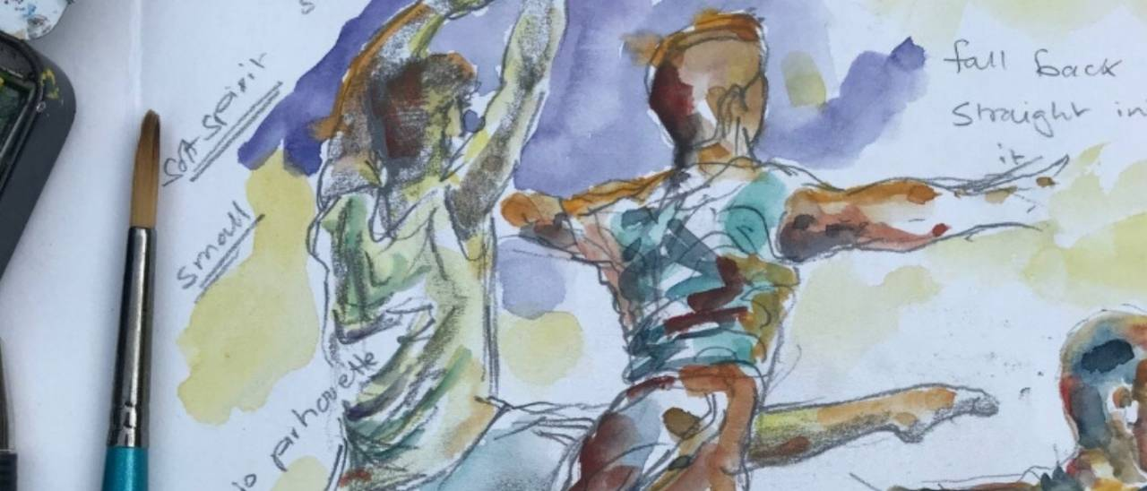Sketch image of dancers next to a paintbrush