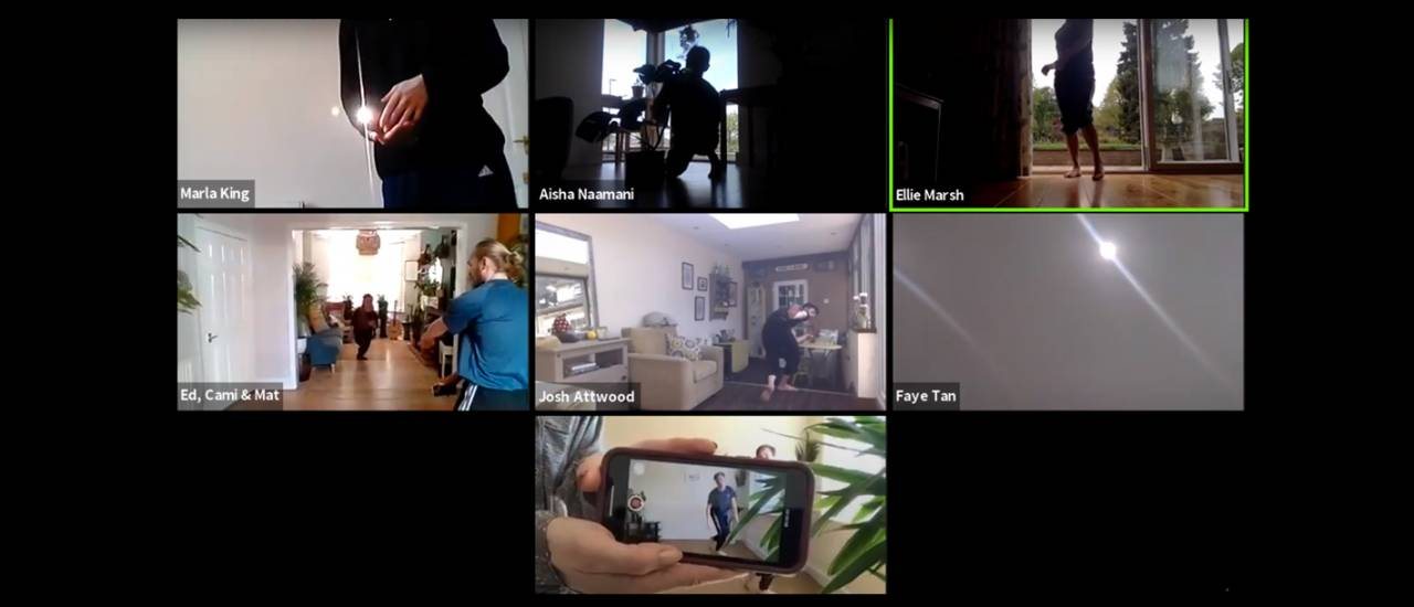 Image of zoom meeting with dancers in 7 different screens