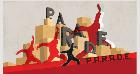 Parade banner, graphic featuring cardboard boxes and letters spelling parade