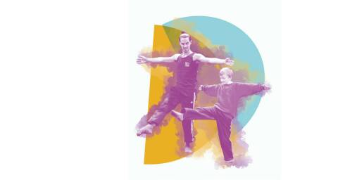 Dance Days image 1 company dance, 1 young boy with arms stretched and right leg in the air