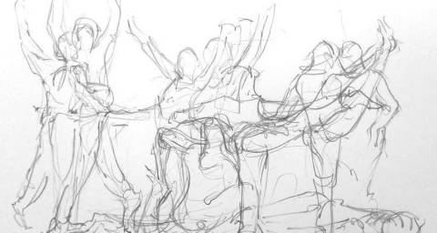 Sketch image from a Watch Dance Class