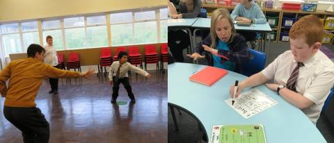 2 images one with 2 a boy dancing with dance ambassador and the other with a boy doing work with a dancer helping