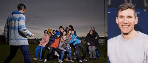 image of Fearghus on a Rugby pitch with dancers of all ages